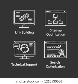 SEO chalk icons set. Link building, sitemap optimization, technical support, search optimization. Isolated vector chalkboard illustrations
