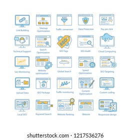 SEO color icons set. Search engine optimization. Internet marketing. Increasing web traffic and lead generation strategies. Website ranking. Isolated vector illustrations