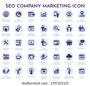 seo company marketing icon, Set of business icons for internet marketing and services