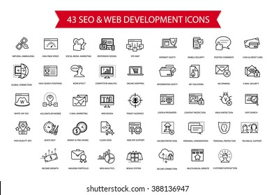 SEO, Computer security, Web development thin line simple flat modern style icon set, collection of web and optimization vector outline icons, internet, safety, web, complicated high quality symbols