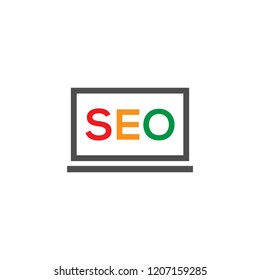 SEO in computer vector logo icon