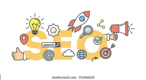 SEO concept banner on white background. Word with icons as light bulb, rocket, cloud and like button.