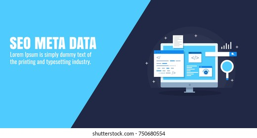 SEO data, Meta-data, Coding, optimization, marketing flat vector banner with icons and texts