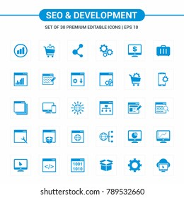 Seo and Developement blue icons
