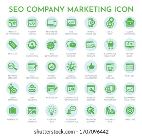 seo Development icon, company marketing icon, Set of business icons for internet marketing and services