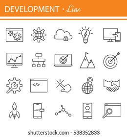 SEO and development icon set. Set of business icons for internet marketing and services.