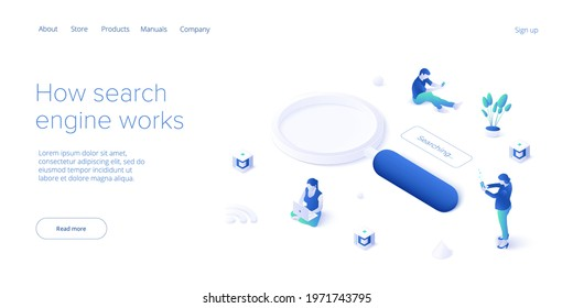 SEO development isometric vector illustration. Website or webpage development concept. Search engine optimization for business purposes.