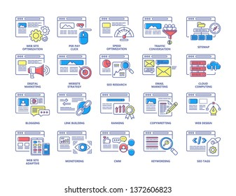 SEO and digital marketing color line icons set. PPC, CMM, Website strategy, Cloud Computing, Traffic conversation, Web design, Seo research. Signs for web page, mobile app. Editable stroke.