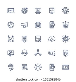 seo and digital marketing line icons set