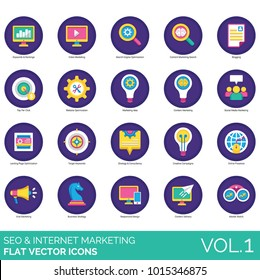 SEO flat icons. Search engine optimization, target keyword, ranking, video, content marketing, consultancy, landing page, viral, responsive design, market watch, pay per click, online presence icon.