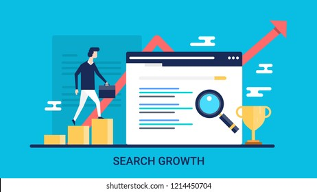 SEO growth, SEO ranking, business success flat banner vector illustration for website, blog and presentations