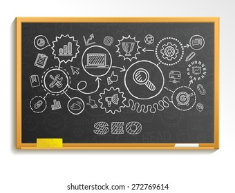 SEO hand draw integrated icons set on school board. Vector sketch infographic illustration. Connected doodle pictograms: marketing, network, analytic, technology, optimize, service interactive concept