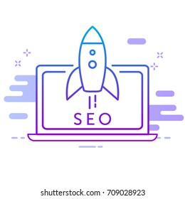 SEO icon for web-site of mobile application. Rocket start up from laptop. Symbol for presentation search engine optimization business processes. Vector illustration.