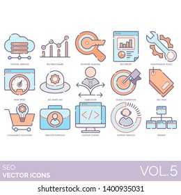 SEO icons including hosting, benchmark, keyword analysis, report, maintenance tool, page speed, white hat, user flow, goals completion, tags, e-commerce, portfolio, custom coding, support, sitemap.