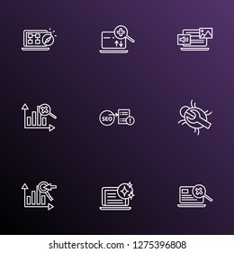 SEO icons line style set with bug fixing, keyword ranking, search engine and other magnifying elements. Isolated vector illustration SEO icons.
