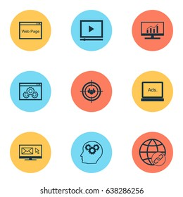 SEO Icons Set. Collection Of Newsletter, Video Player, Web Page Performance And Other Elements. Also Includes Symbols Such As Link, Newsletter, Creativity.