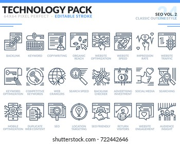 SEO Icons Set. Editable Stroke. Technology outline icons pack. Pixel perfect thin line vector icons for web design and website application.