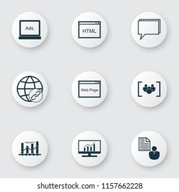 SEO icons set with focus group, keyword ranking, comprehensive analytics and other keyword optimisation elements. Isolated vector illustration SEO icons.