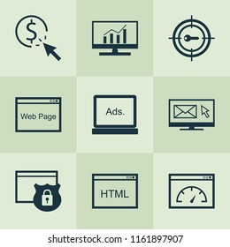 SEO icons set with HTML code, pay per click, website protection and other loading speed elements. Isolated vector illustration SEO icons.