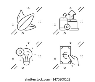 Seo idea, Seo devices and Sunflower seed line icons set. Finance sign. Performance, Mobile stats, Vegetarian food. Eur cash. Business set. Line seo idea outline icon. Vector