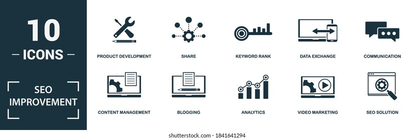 Seo Improvement icon set. Collection of simple elements such as the money online, code optimization, content management, blogging. Seo Improvement theme signs.