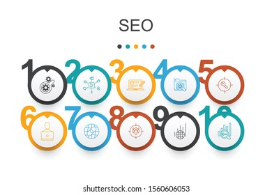 SEO Infographic design template.Search engine, Target keywords, Web analytics, SEO monitoring simple icons