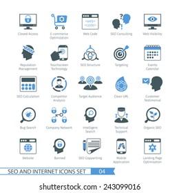 SEO internet and development icon set 04