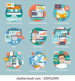 Seo internet marketing flat icon set with display contextual advertising e-mail marketing concepts isolated vector illustration