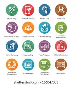 SEO & Internet Marketing Icons - Set 3   Long Shadow Series