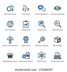 SEO & Internet Marketing Icons - Set 4 | Blue Series