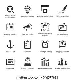 SEO & Internet Marketing Icons Set 5 - Black Series