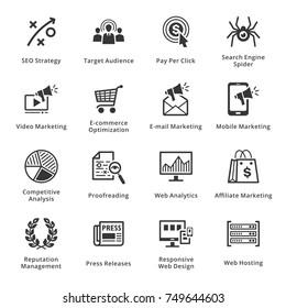 SEO & Internet Marketing Icons Set 3 - Black Series
