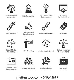SEO & Internet Marketing Icons Set 2 - Black Series