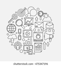 SEO and internet marketing illustration. Vector round digital marketing symbol made with outline icons
