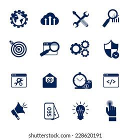 SEO internet marketing media marketing web site optimization black and white icons set isolated vector illustration