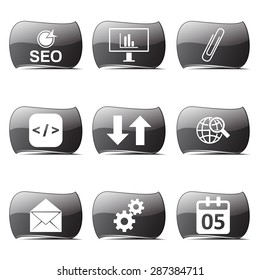 SEO Internet Sign Black Vector Button Icon Design Set 6