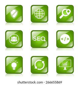 SEO Internet Sign Square Vector Green Icon Design Set 2