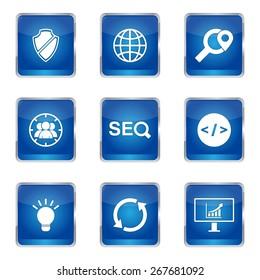 SEO Internet Sign Square Vector Blue Icon Design Set 2