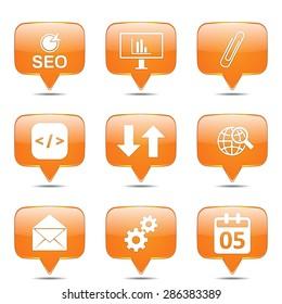 SEO Internet Sign Square Vector Orange Icon Design Set 6