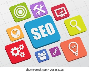 SEO and internet signs - white symbols in colorful flat design blocks, business technology concept icons, vector