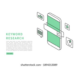 Seo keyword research concept. Keyword research and search engine optimization. Vector isometric in line art style.