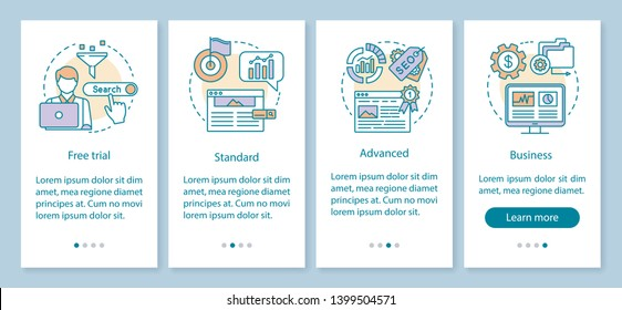 SEO keyword tool subscription onboarding mobile app page screen with linear concepts. Standard tariff. Four walkthrough steps graphic instructions. UX, UI, GUI vector template with illustrations