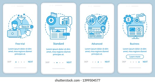 SEO keyword tool subscription onboarding mobile app page screen with linear concepts. Four walkthrough steps graphic instructions. Standard tariff. UX, UI, GUI vector template with illustrations