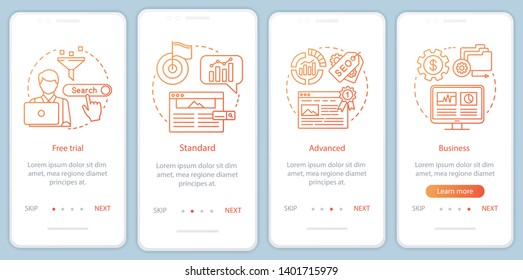 SEO keyword tool subscription onboarding mobile app page screen with linear concepts. Advanced tariff. Four walkthrough steps graphic instructions. UX, UI, GUI vector template with illustrations