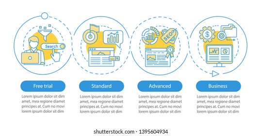 SEO keyword tool subscription vector infographic template. Standard tariff. Business presentation design elements. Data visualization, four step, option. Process timeline chart. Workflow layout, icons