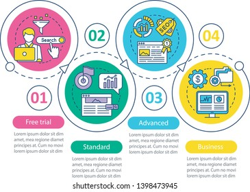 SEO keyword tool subscription vector infographic template. Business presentation design elements. Standard tariff. Data visualization, four step, option. Process timeline chart. Workflow layout, icons