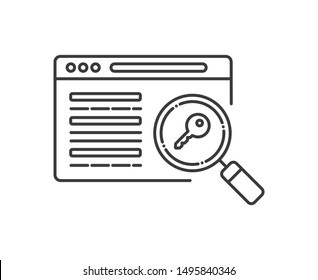 SEO keywording line black icon. Digital marketing sign. Metadata vector pictogram. Website ranking symbol. Object for web page, mobile app, promo. UI/UX/GUI design element. Editable stroke.