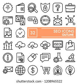 SEO line icon set, marketing symbols collection, vector sketches, logo illustrations, optimization signs linear pictograms package isolated on white background, eps 10