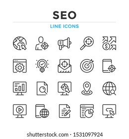 SEO line icons set. Modern outline elements, graphic design concepts, simple symbols collection. Vector line icons