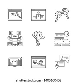 SEO line icons set. SEO Related Vector Line Icon. Isolated on White Background. Social chanels, keywording, sales funnel, sitemap navigation, search process, growth traffic, ranking. Editable Stroke.